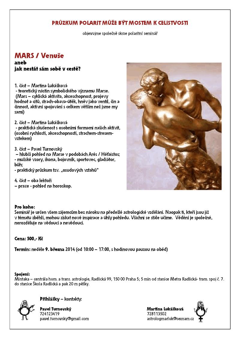 astrologický seminář Mars a Venuše v horoskopu březen 2014